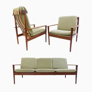 Danish Living Room Set by Grete Jalk for Poul Jeppesen, 1950s