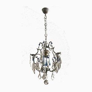 Lámpara de araña vintage de cristal y cristal de Murano