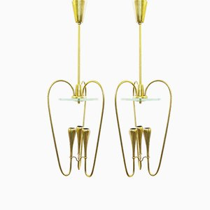 Italian Brass and Glass Pendant Lights, 1960s, Set of 2