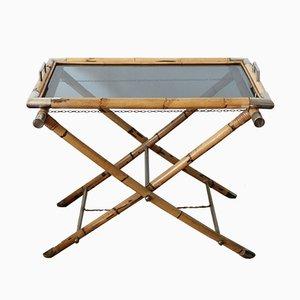 Tavolo di servizio in ottone e vetro, anni '70