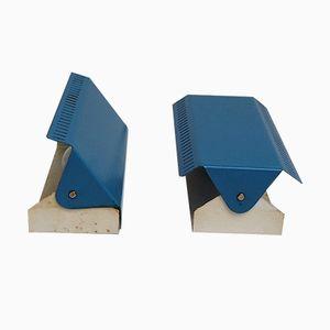 Blaue Wandlampen mit anpassbarem Schirm, 1960er, 2er Set