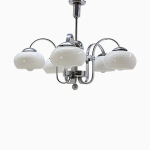 Large Chrome Bauhaus Chandelier, 1930s