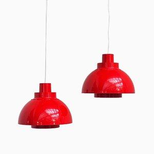 Lámparas colgantes Minisol de plástico rojo de K Kewo para Nordisk Solar, 1960. Juego de 2