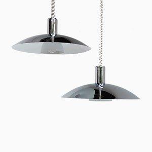 Lámparas colgantes vintage de metal cromado de Light Studio Horn. Juego de 2
