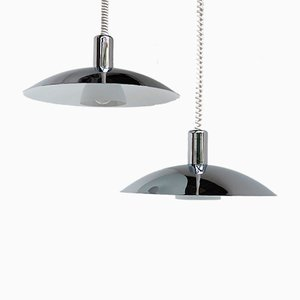 Vintage Chrome Pendants from Light Studio Horn, Set of 2