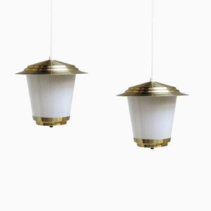 White and Brass Lantern Pendants, 1960s, Set of 2