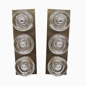 Large Modernist Brass & Glass Wall Sconces by Cosack, 1970s, Set of 2