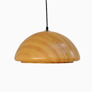Lampada a sospensione in plastica e legno, anni '80