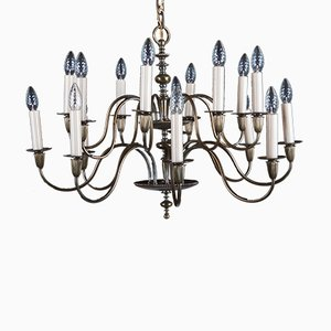 Vintage Large Brass 16-Arm Chandelier