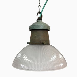 Industrial Glass Pendant Light from Holophane, 1950s