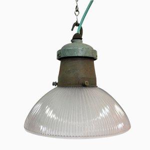 Lampe à Suspension Industrielle en Verre de Holophane, 1950s
