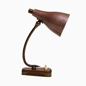 Mid-Century Rust Pink Table Lamp with Brass Details from Stilnovo