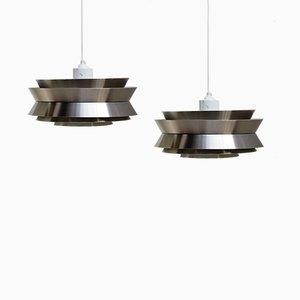 Lámparas colgantes Trava suecas de latón de Carl Thore para Granhaga Metallindustri, años 60. Juego de 2