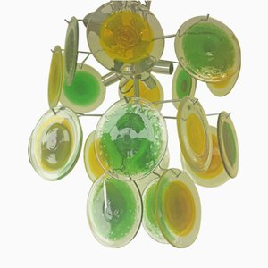 Lampadario in vetro di Murano verde e giallo di Gino Vistosi per Vistosi, anni '50