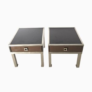 Vintage Lacquered Side Tables Guy Lefevre, Set of 2