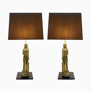 Lámparas de mesa en forma de faraón egipcio. Juego de 2