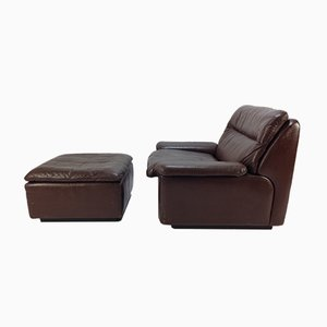 Swiss Club Chair & Ottoman from de Sede, 1970s