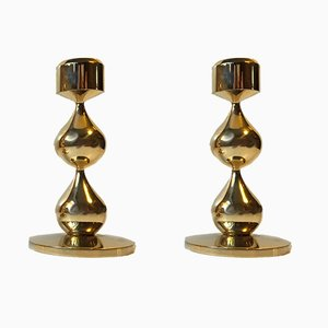 Gold Plated Candleholders by Hugo Asmussen for Asmussen, 1960s, Set of 2