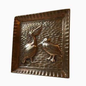Cenicero escandinavo de bronce con pelícanos, años 30