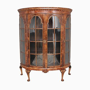 Antique Walnut Bow-Fronted Display Cabinet