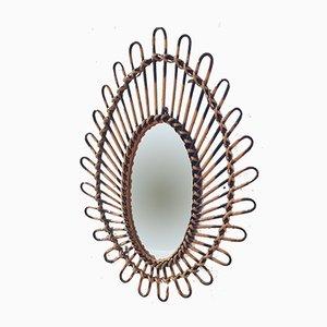 Ovaler Vintage Spiegel aus Rattan