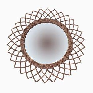 Vintage Spiegel aus Rattan