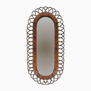 Vintage French Oval-Shaped Rattan Mirror