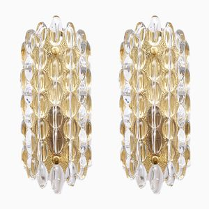 Swedish Glass & Brass Wall Sconces by Carl Fagerlund for Orrefors, 1960s, Set of 2