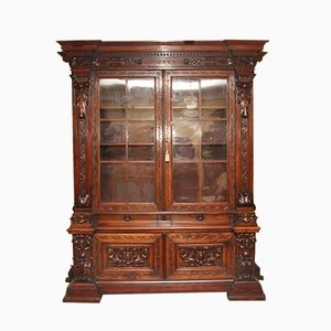 19th-Century Walnut Cabinet with Showcase