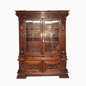 19th-Century Walnut Cabinet with Showcase