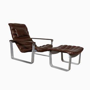 Vintage Pulkka Lounge Chair & Ottoman by Ilmari Lappalainen for Asko