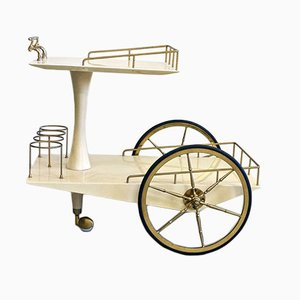 Vintage Parchment Trolley by Aldo Tura