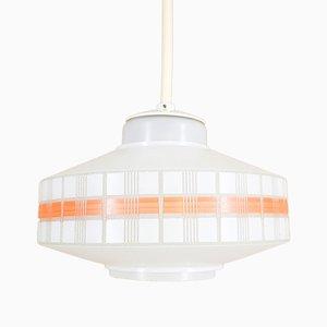 Lámpara colgante de vidrio opalino, años 60