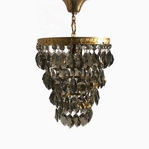 Lámpara colgante francesa vintage con gotas de cristal