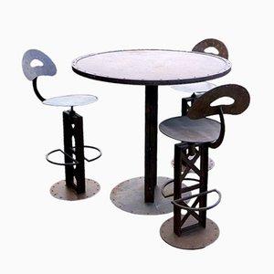 Französischer Vintage Bistrotisch & 3 Stühle