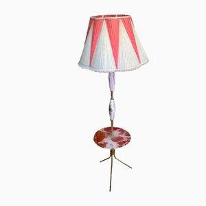 Lampada da terra in ottone, vetro e ceramica, anni '50