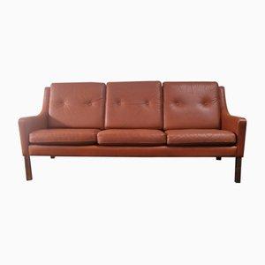 Danish Tan Leather 3 Seater Sofa, 1970s