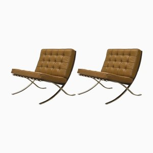 Brown Barcelona Chair by Ludwig Mies van der Rohe for Knoll, 1960s, Set of 2