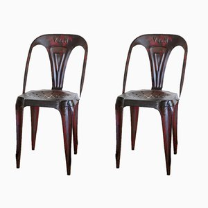 French Bistro Metal Chairs by Joseph Mathieu for Multipl's, Set of 2