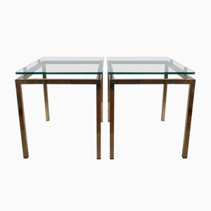 Tables d'Appoint en Laiton et Verre, Set de 2