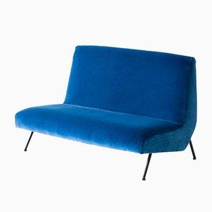 Sofá italiano de terciopelo azul, años 50