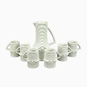 Vintage Saftkanne aus Keramik und 6 Tassen von BACS San Marino