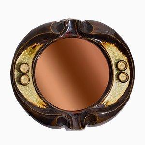 Ceramic Mirror by Artist Gyula Vegvari, 1970s