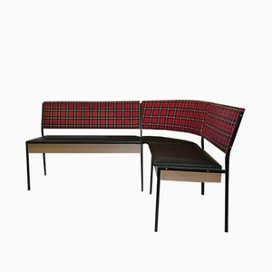 Mid-Century Red Checkered Corner Bench