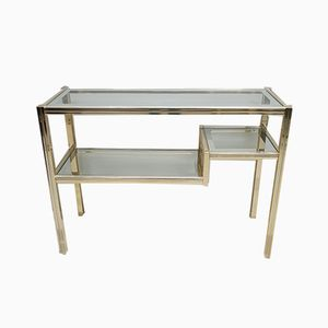 Gilt Metal and Glass 3-Tiered Console Table, 1980s