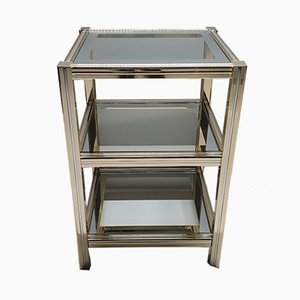 Gilt Metal and Glass 3-Tiered Side Table, 1980s