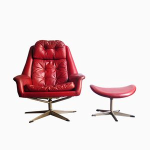 Leather Egg Chair and Ottoman by H. W. Klein for Bramin