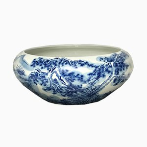 Bol de Milieu de Table Blue & Porcelaine Blanche, 1970s