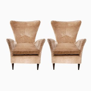 Beige Velvet Armchairs, 1950s, Set of 2