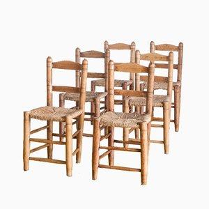 Handgefertgte spanische Holzstühle, 1940er, 6er Set